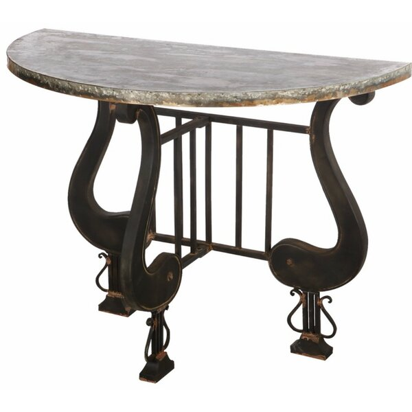 Review Ellettsville Antique Upgraded Demilune Console Table
