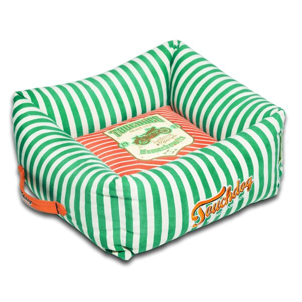 Neutral-Striped Ultra-Plush Easy Wash Squared Designer Dog Bed by Pet Life