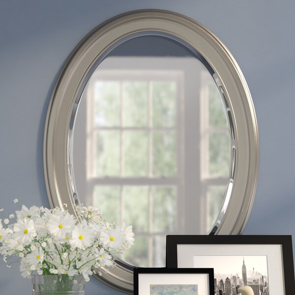 Oval Wood Wall Mirror by Red Barrel Studio