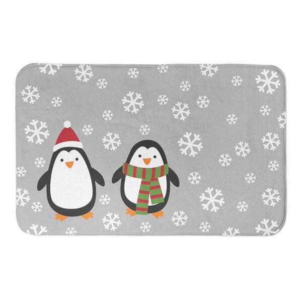 Consuelo Snowy Penguins Rectangle Non-Slip Bath Rug