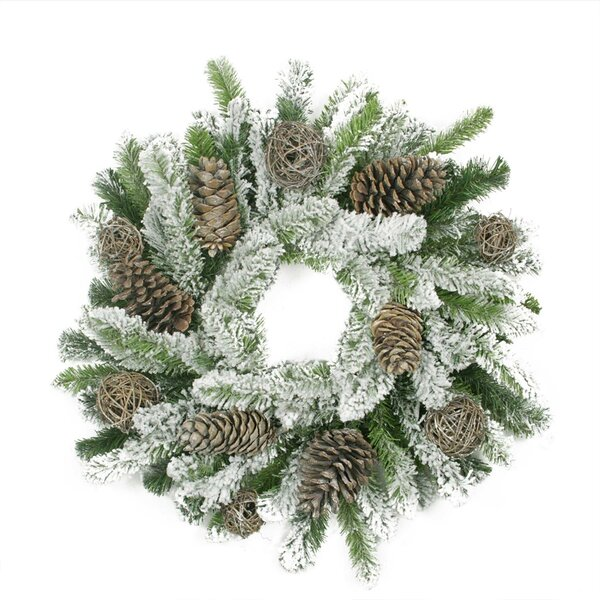 Flocked Pine Cone and Twig Ball Artificial Christmas Wreath by Tori Home