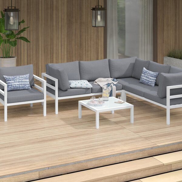 Lorentz 5 Piece Sectional Seating Group with Cushions by Mercury Row
