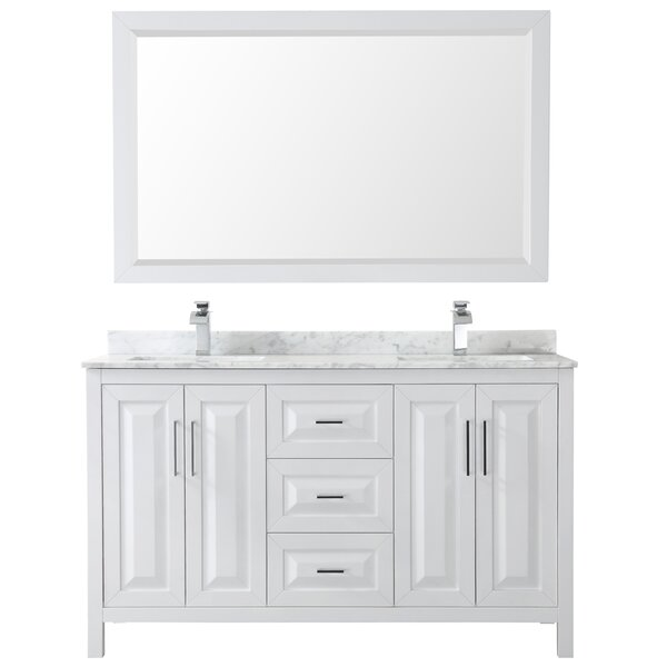 Daria 60 Double Bathroom Vanity Set with Mirror by Wyndham Collection