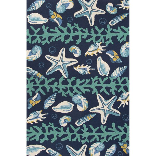 Ismene Hand-Hooked Blue/Ivory Indoor/Outdoor Area Rug by Highland Dunes