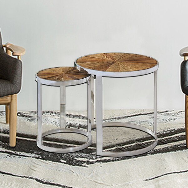 Ephratah Reclaimed Elm Wood 2 Piece Nesting Tables By Brayden Studio®