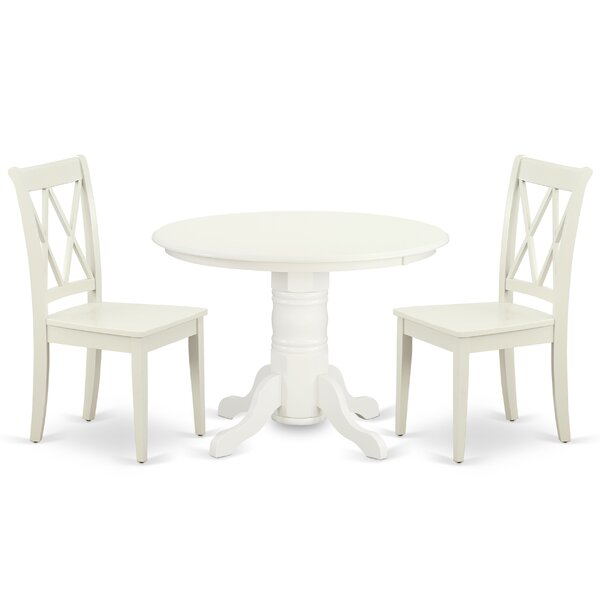 Kopec 3 Piece Solid Wood Dining Set by August Grove