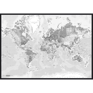 World Map Canvas Wrapped Wayfaircouk - World map canvas grey
