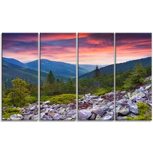 'Stones Under Summer Sunset' 4 Piece Photographic Print on Wrapped Canvas Set by Design Art