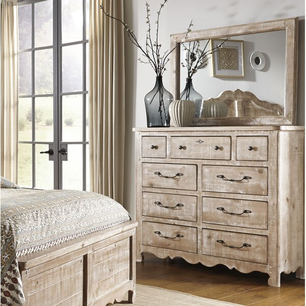 9 Drawer Double Dresser with Mirror by Feminine French Country
