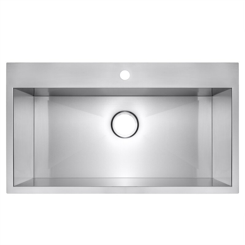 stainless steel 30   x 18   drop in kitchen sink akdy stainless steel 30   x 18   drop in kitchen sink  u0026 reviews      rh   wayfair com