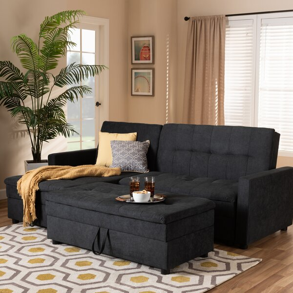 Bihari Modern and Contemporary Left Hand Facing Sleeper Sectional with Ottoman by Latitude Run