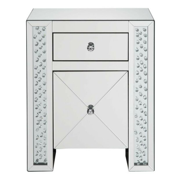 Lakendra Wood and Mirror 2 Drawer Nightstand by Everly Quinn Everly Quinn