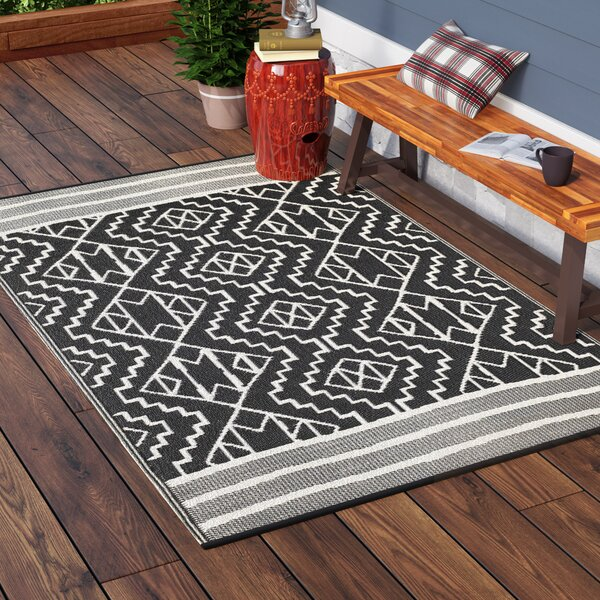 Tayler Indoor/Outdoor Black/Beige Area Rug by Union Rustic