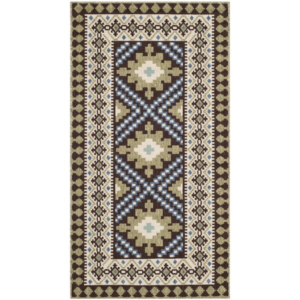 Zahr Chocolate/Green Indoor/Outdoor Area Rug by Bungalow Rose