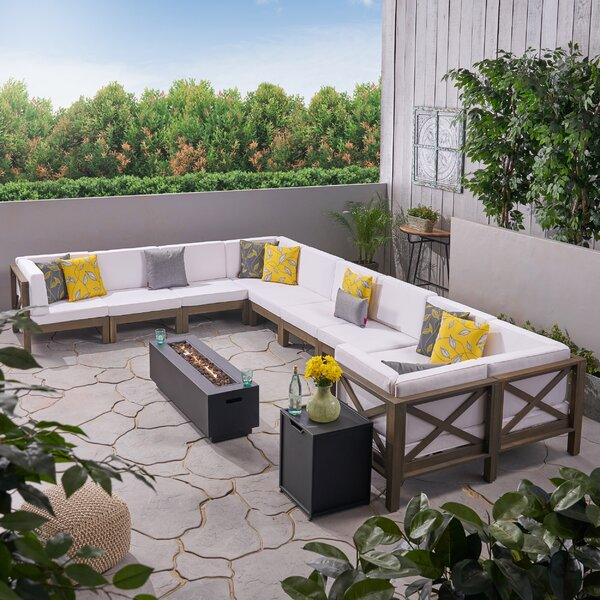 Zebra Outdoor 10 Piece Rattan Sectional Seating Group with Cushions by Longshore Tides Longshore Tides