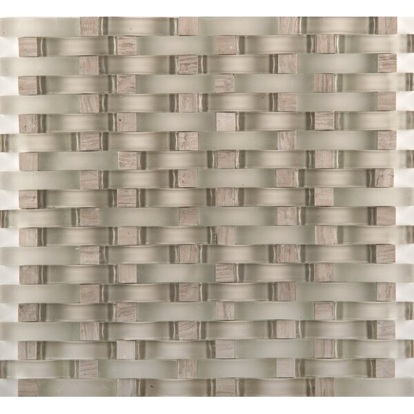 Lucente 12 x 13 Glass Stone Blend Wave Mosaic Tile in Certosa by Emser Tile
