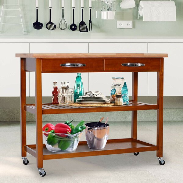 Weidner 3-Tier Kitchen Cart Solid Wood by Red Barrel Studio