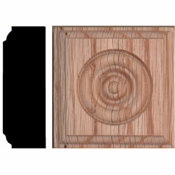 2-1/2 in. x 2-1/2 in. x 7/8 in. Oak Rosette Block Moulding by Manor House