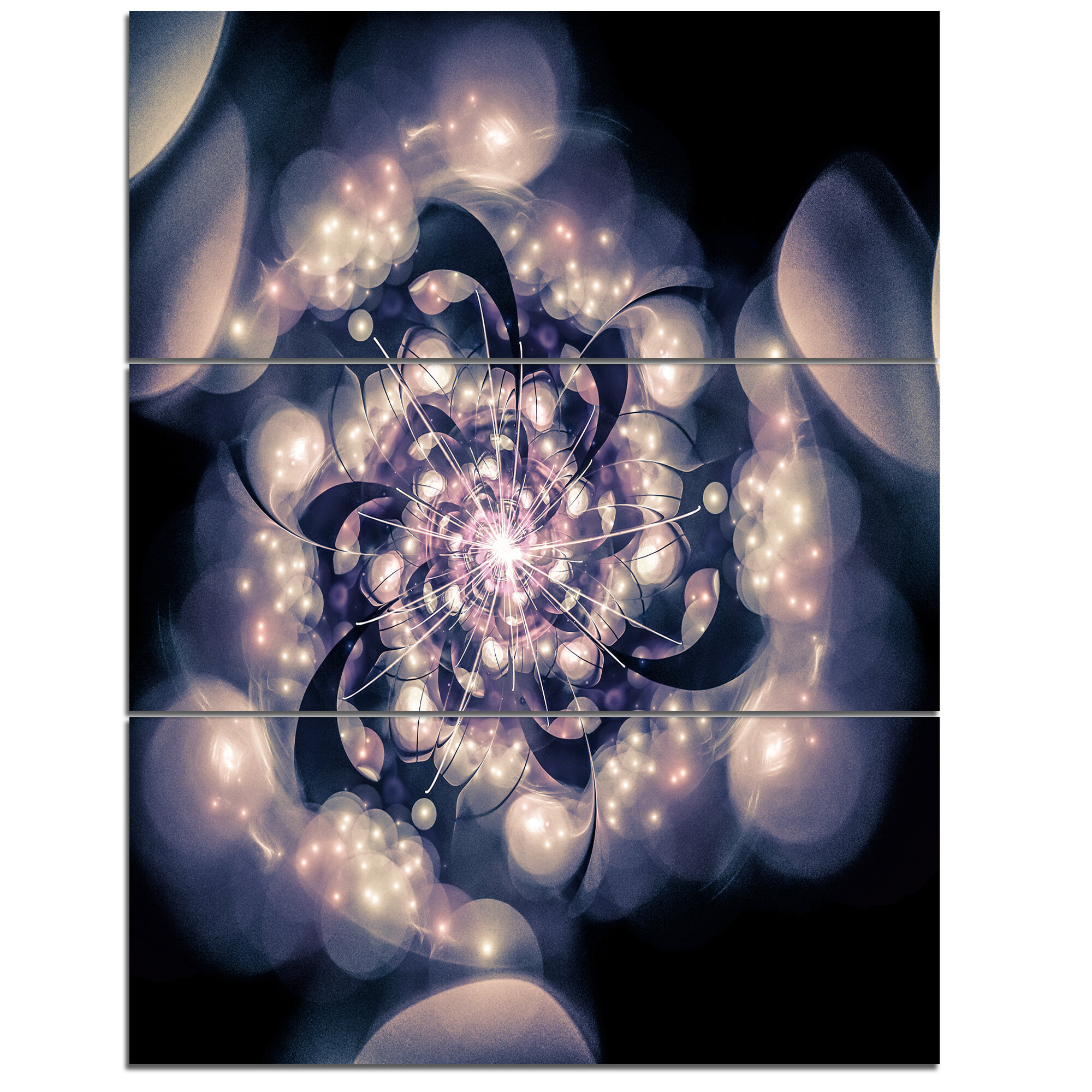 Designart Black White Fractal Flower In Dark 3 Piece Wall Art On Wrapped Canvas Set Wayfair