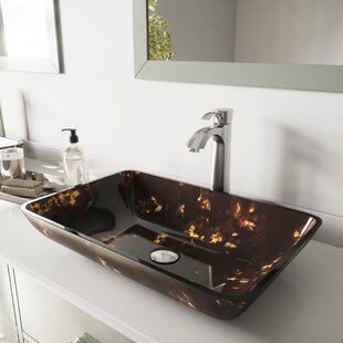 Compare Fusion Glass Rectangular Vessel Bathroom Sink with Faucet By VIGO