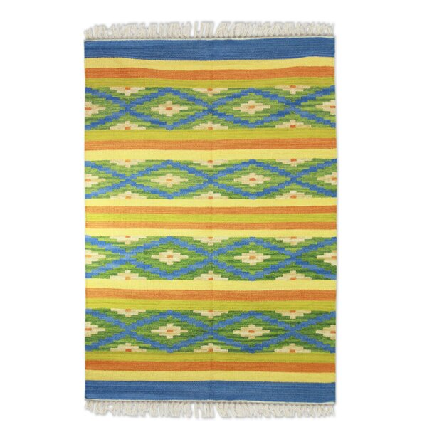 Hand-Loomed Yellow/Blue Area Rug by Novica