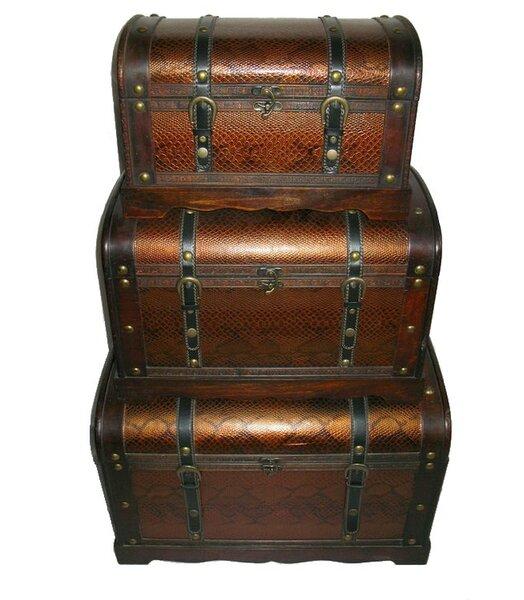 3 Piece Decorative Wood and Faux Snakeskin Storage Box Set by Northlight Seasonal