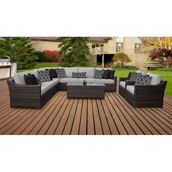 River Brook 10 Piece Sectional Seating Group with Cushions by kathy ireland Homes & Gardens by TK Classics