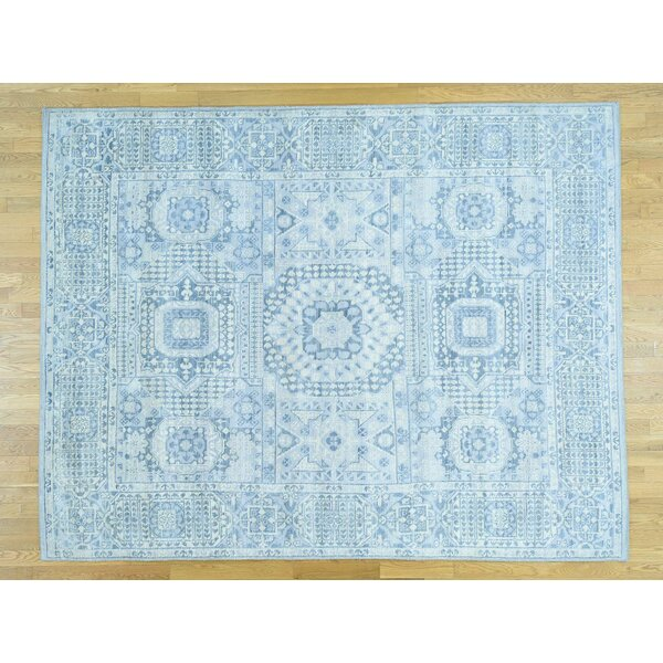 One-of-a-Kind Best Pre-historic Design Handwoven Blue Wool Area Rug by Isabelline