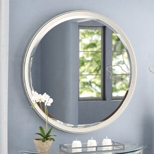 Wade Logan Round Silver Accent Wall Mirror