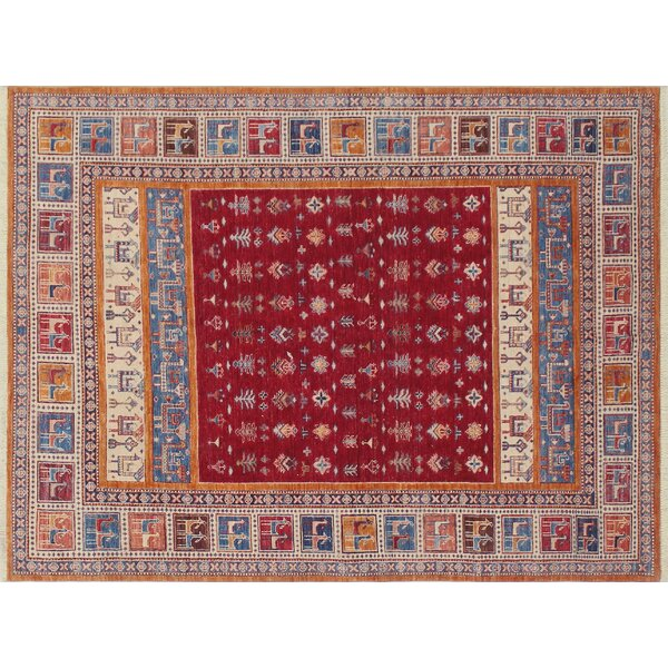One-of-a-Kind Vernell Geometric Hand-Knotted Red Area Rug by Isabelline