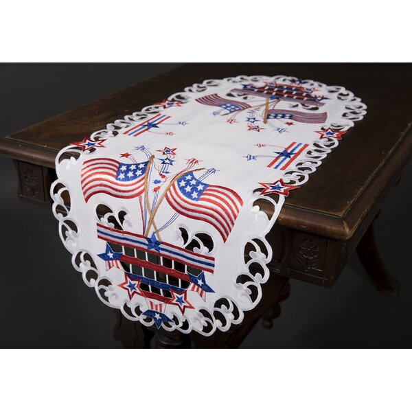 Star Spangled Embroidered Cutwork Table Runner by The Holiday Aisle