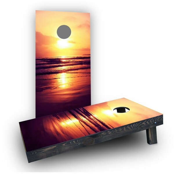 Orange Sunset On The Beach Cornhole Boards (Set of 2) by Custom Cornhole Boards