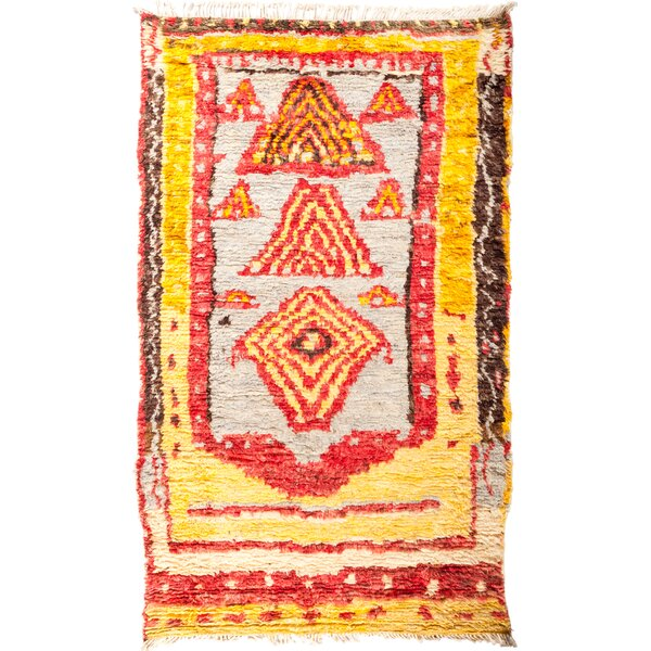 One-of-a-Kind Heiman Hand Knotted Yellow/Red Area Rug by Bloomsbury Market