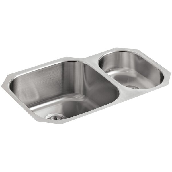 Undertone 30-3/4 L x 20-1/8 W x 9-5/8 Under-Mount High/Low Double Rounded Bowl Kitchen Sink by Kohler