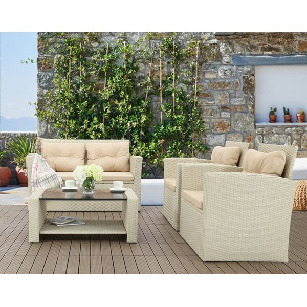 Evelien 4 Piece Rattan Sofa Seating Group by Ebern Designs Ebern Designs