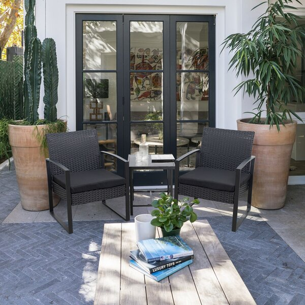 Beoll 3 Piece Rattan With Cushions By Wrought Studio
