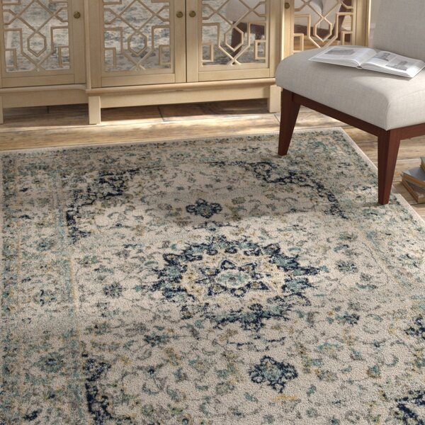 Grieve Ivory/Blue Area Rug by Bungalow Rose