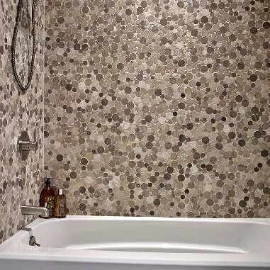 Serenity Stone Pol 12 x 12 Marble Pebble Mosaic Tile in Gray by MSI