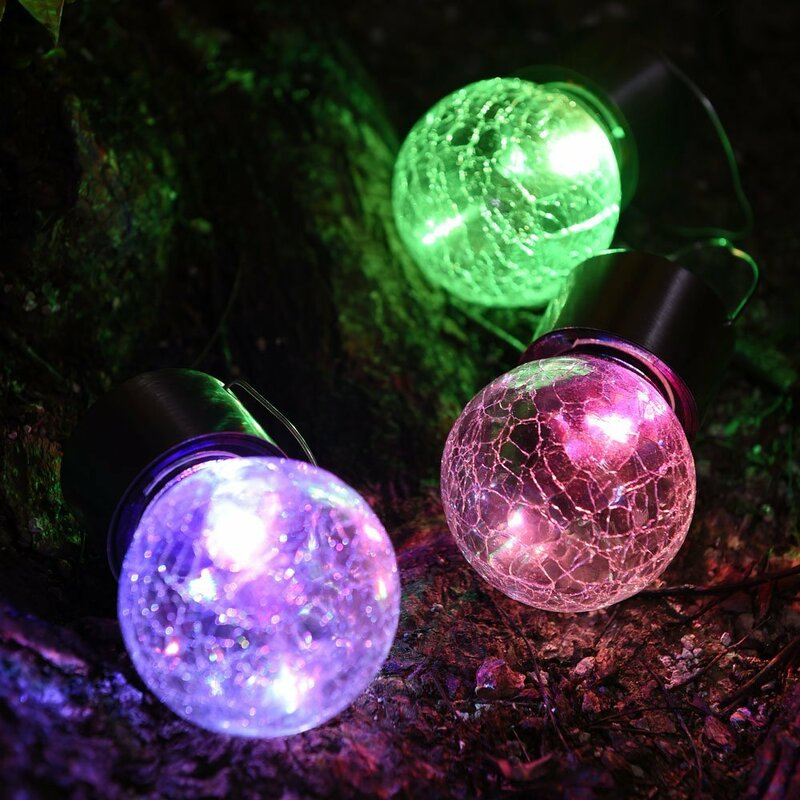 Solar Powered Hanging Crackle Globe Ball Led Lights Hook Garden Stainless Steel