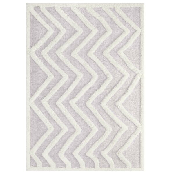 Alaric Abstract Chevron Ivory/Light Gray Indoor Area Rug by Latitude Run