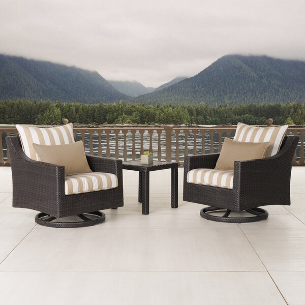 Northridge 3 Piece Sunbrella Conversation Set with Cushions by Three Posts