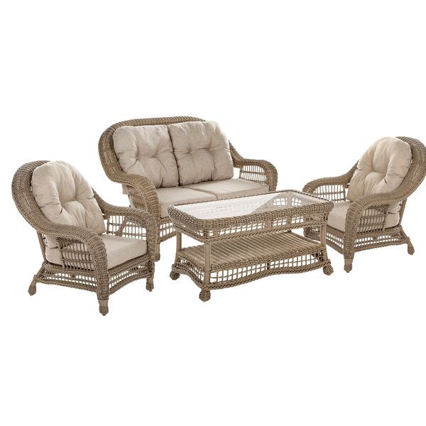 Habersham Garden Patio 4 Piece Sofa Seating Group with Cushions by August Grove