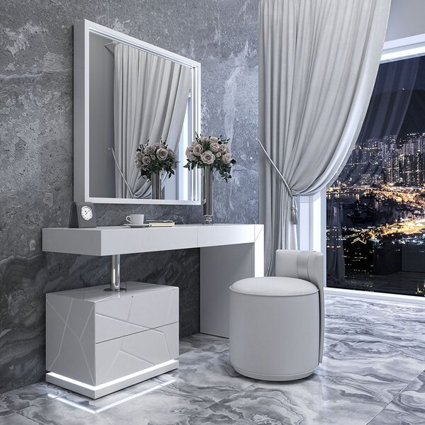 Loughran Vanity Set with Stool and Mirror