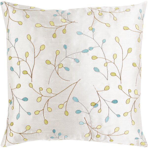 Blossom II Elegant Embroidered Throw Pillow by Surya