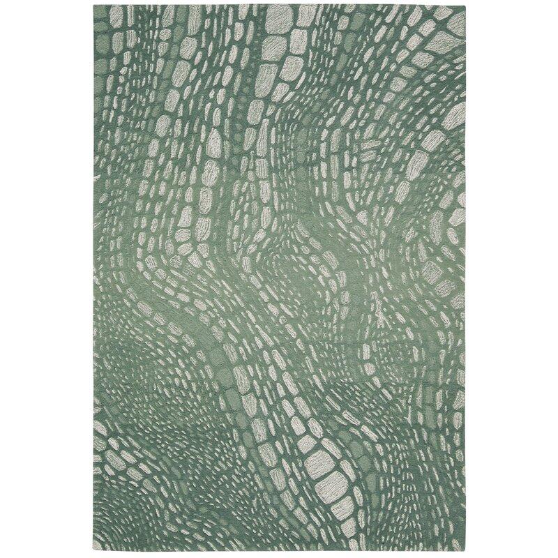 Kathy Ireland Home Palisades Abstract Handmade Tufted Green Blue Area Rug Wayfair