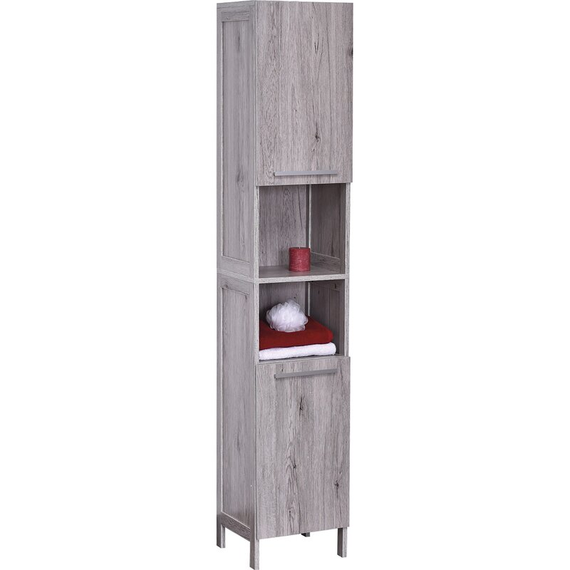 Bath Floor Cabinet Linen Tower 2 Doors