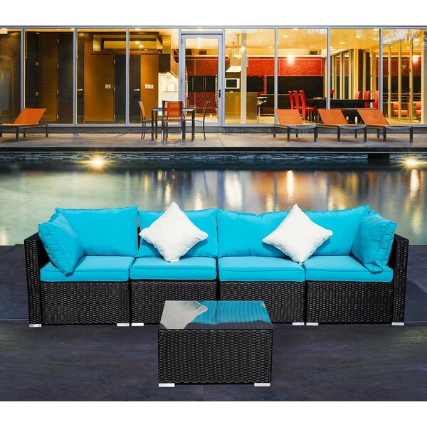 Chevalier 5 Piece Rattan Sectional Seating Group with Cushions by Red Barrel Studio