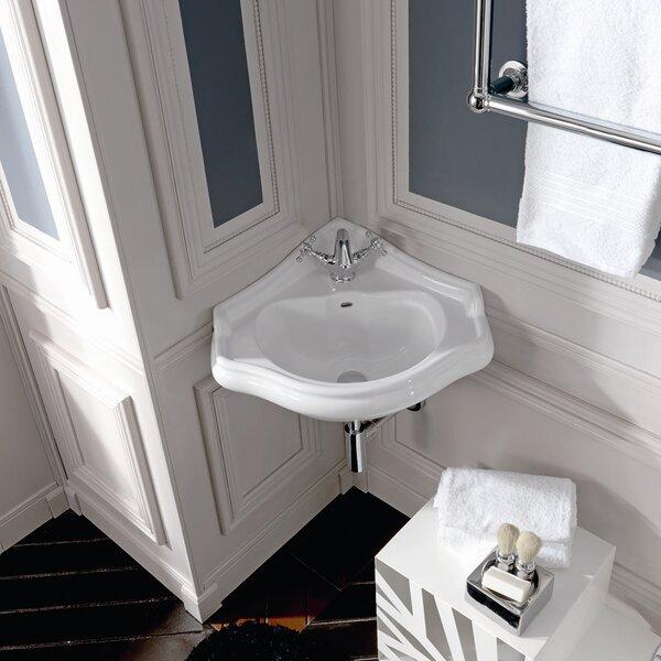 Retro Ceramic 17 Corner Bathroom Sink with Overflow