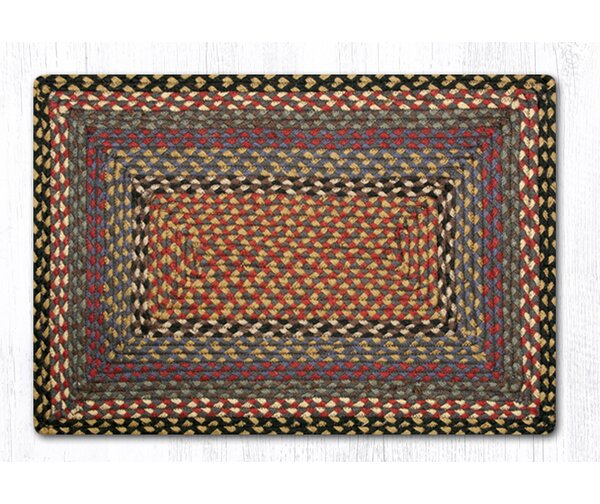 Burgundy/Blue/Gray Braided Area Rug by Earth Rugs