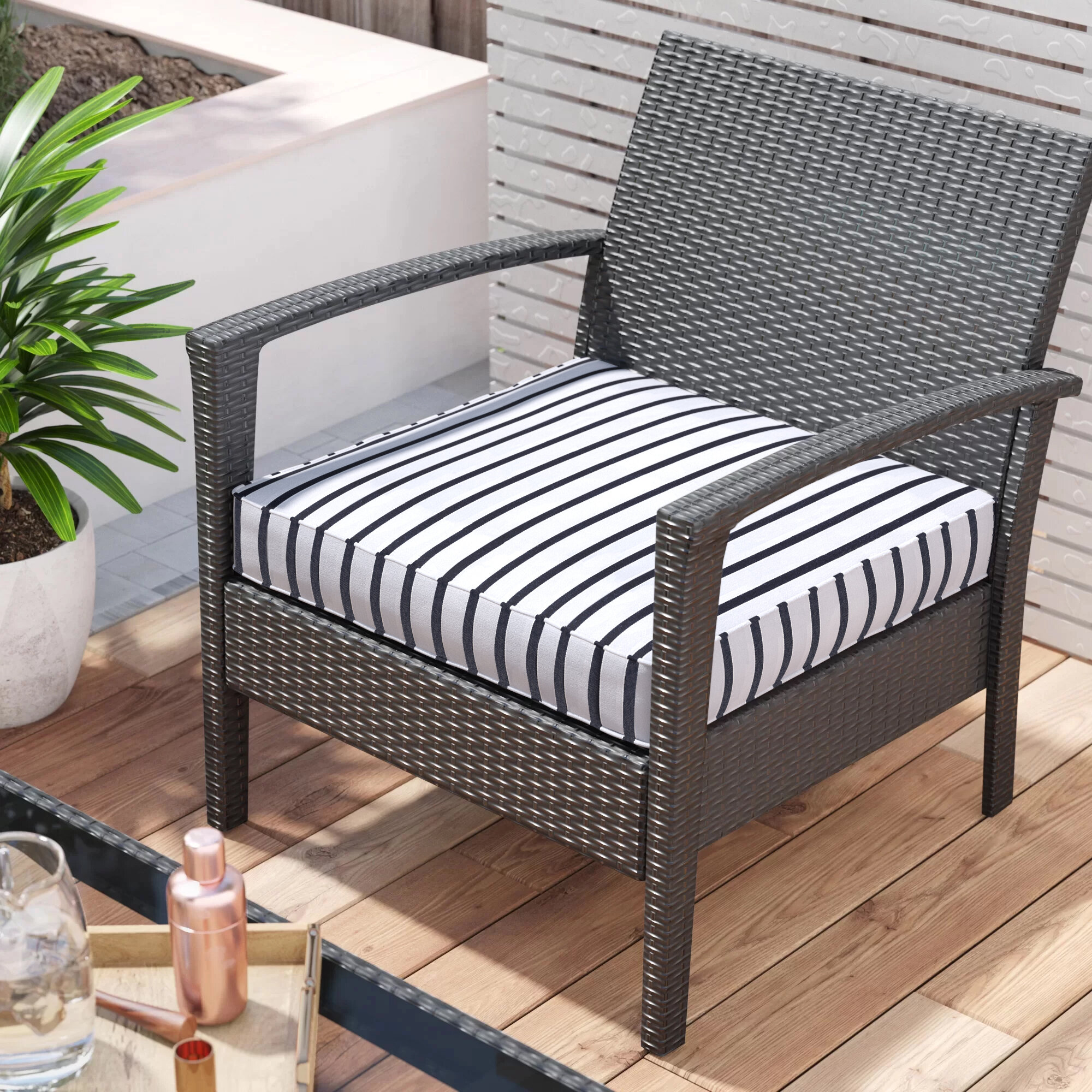 Mercer41 Whitten Indoor Outdoor Sunbrella Dining Chair Cushion Wayfair